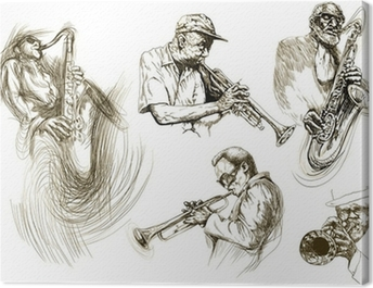 jazz men (hand drawing collection of sketches) Canvas Print
