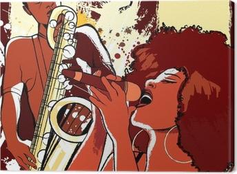 jazz singer and saxophonist on grunge background Canvas Print
