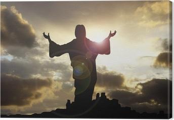 jesus arms raised 1 Canvas Print