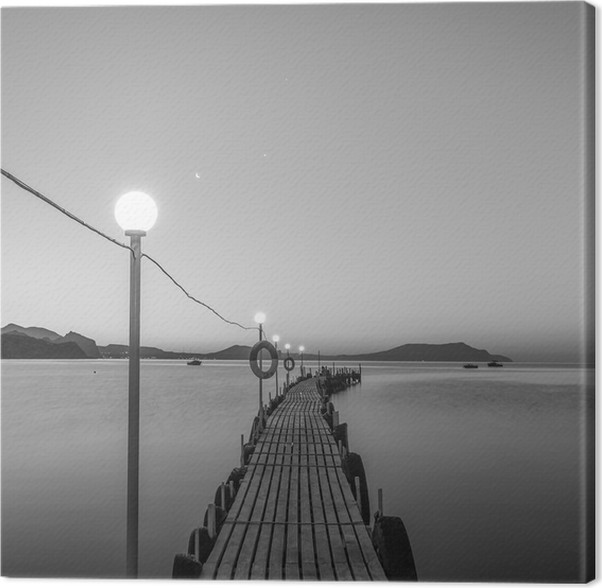 Jetty on sea at dawn black and white canvas print