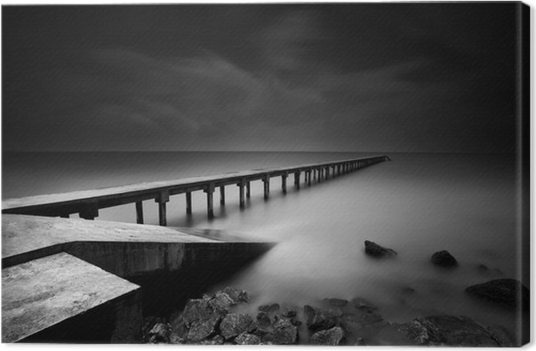Jetty or pier in black and white canvas print themes