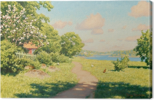 Johan Krouthén - Landscape with Hens Canvas Print - Reproductions