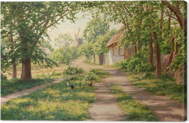 Johan Krouthén - Summer Landscape with Windmill Canvas Print - Reproductions