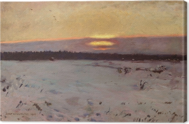 Józef Chełmoński - Sunset in the Winter Canvas Print - Reproductions