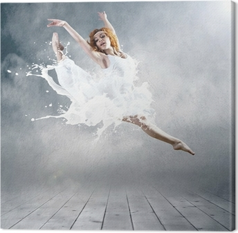 Jump of ballerina with dress of milk Canvas Print