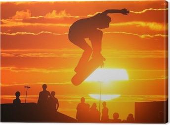 Jumping extreme high skateboard skater boy Canvas Print