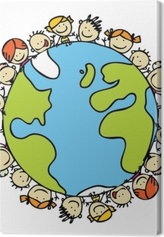 Kids around the world together save the planet earth Canvas Print