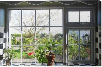 Kitchen window with the view on garden Canvas Print