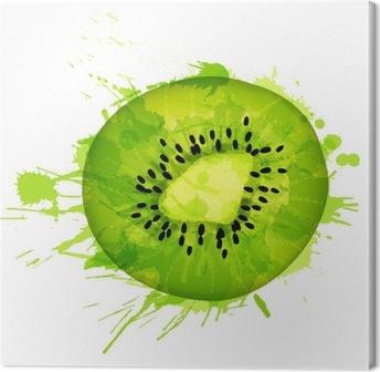 Kiwi fruit slice made of colorful splashes on white background Canvas Print