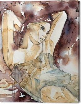 kobieta z rękoma pod głową Canvas Print