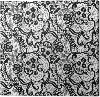 Lace black seamless pattern with flowers on white background Canvas Print