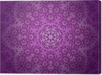 Lace circle oriental ornament, ornamental doily pattern on viole Canvas Print