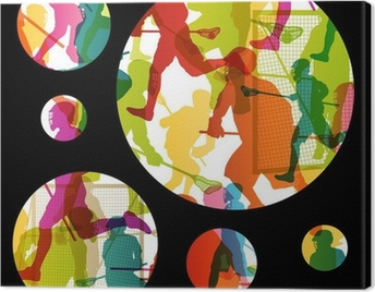 Lacrosse players active men sports silhouettes abstract backgrou Canvas Print