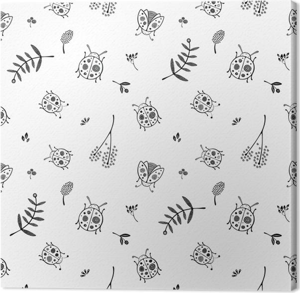 Ladybugs pattern - Kubem Studio Canvas Print - Contemporary artists