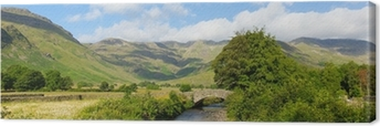 Lake District panorama Mickleden Beck river Langdale Valley Canvas Print