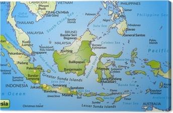 Landkarte von Indonesien mit Hauptstädten und Nachbarländern Canvas Print