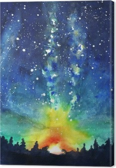 Landscape. Forest, night sky, stars, space. Watercolor hand pain Canvas Print