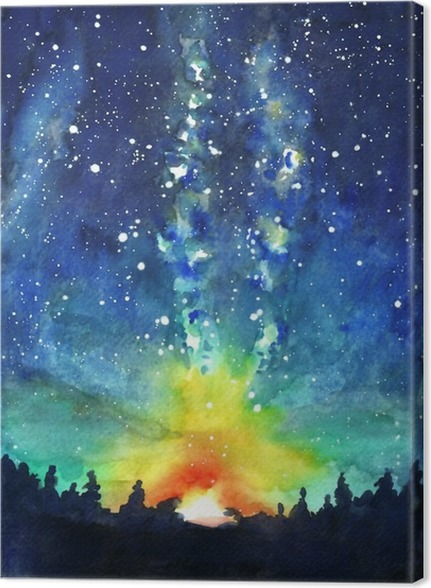 Landscape forest night sky stars space watercolor hand pain canvas print