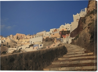 landscape of Oia village in Santorini Greece Canvas Print