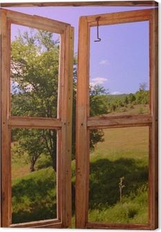 landscape seen through a window Canvas Print