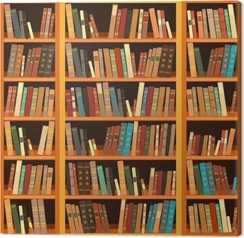 Large bookcase with different books Canvas Print