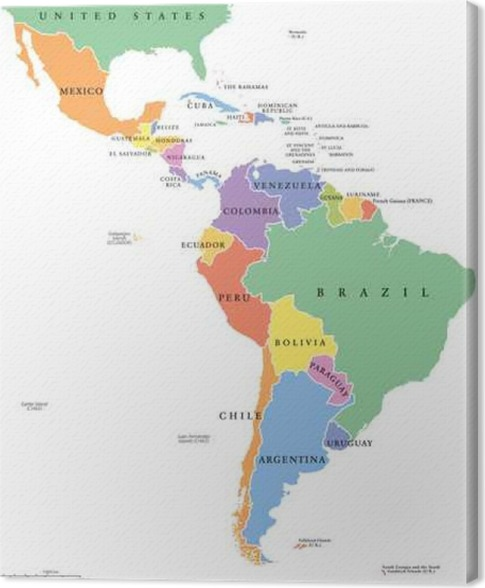 Latin america single states political map countries in different latin america single states political map countries in different colors with national borders and english country names from mexico to the southern tip gumiabroncs Choice Image