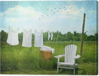 Laundry drying on clothesline Canvas Print