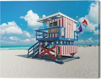 Lifeguard hut in South Beach, Miami Canvas Print