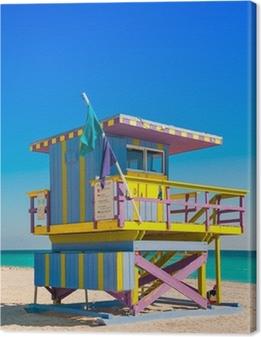 Lifeguard Tower in South Beach, Miami Beach, Florida Canvas Print
