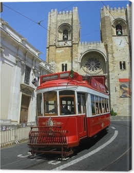 lisbon red tram Canvas Print