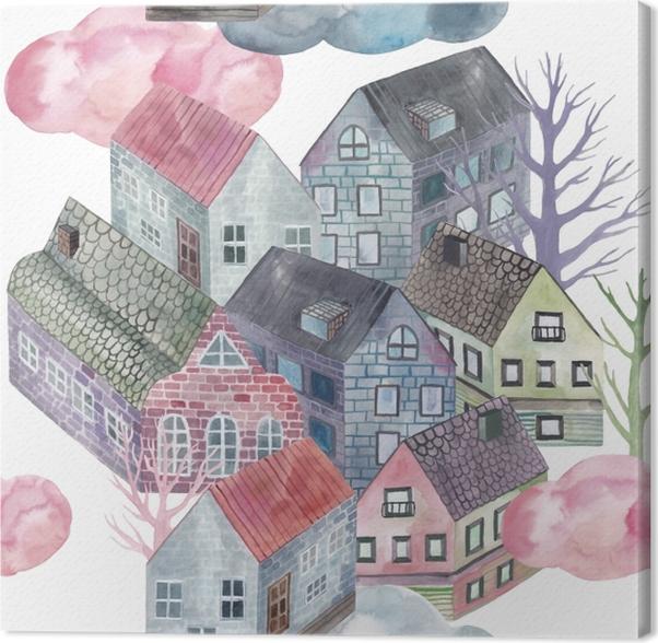 Little town - Tatiana Canvas Print - Contemporary artists