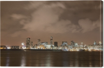 Liverpool Firework Panorama on New Year's Eve Canvas Print