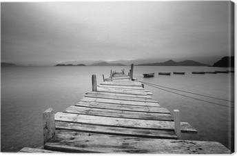 Looking over a pier and boats, black and white Canvas Print