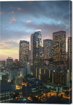 Los Angeles downtown at sunset, California Canvas Print