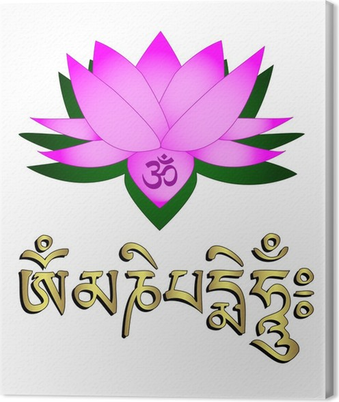 Lotus flower om symbol and mantra om mani padme hum canvas print lotus flower om symbol and mantra om mani padme hum canvas print mightylinksfo
