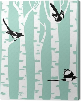 Magpie birds on a birch trees Canvas Print