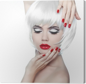 Makeup and Hairstyle. Red Lips and Manicured Nails. Fashion Beau Canvas Print
