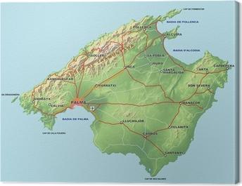 Mallorca Karte Mit Relief Canvas Print Pixers We Live To Change