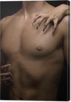 man body and woman nail Canvas Print