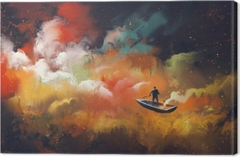 man on a boat in the outer space with colorful cloud,illustration Canvas Print