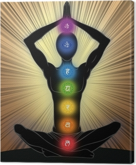 Man silhouette in yoga position Canvas Print