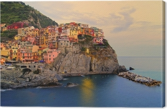 Manarola Italy On The Cinque Terre Coast At Sunset Canvas Print Pixers We Live To Change