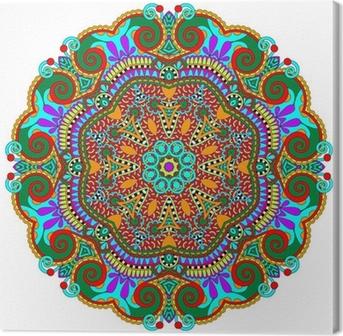 mandala, circle decorative spiritual indian symbol of lotus Canvas Print
