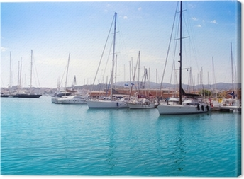 Marina port in Palma de Mallorca at Balearic Islands Canvas Print