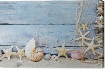 Maritimer Hintergrund: Strandgut, Muscheln und Seesterne Canvas Print