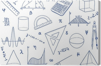 Mathematics - school supplies, geometric shapes and expressions Canvas Print