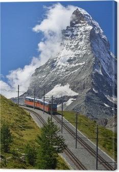 Matterhorn railway from Zermatt to Gornergrat. Switzerland Canvas Print