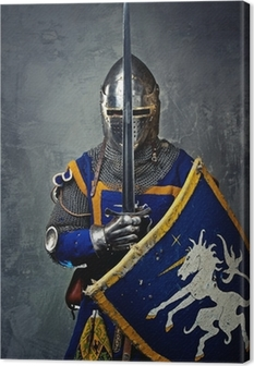 Medieval knight on grey background. Canvas Print