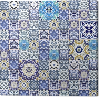 Mega seamless patchwork pattern from colorful Moroccan tiles Canvas Print