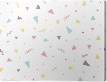 Memphis seamless pattern design with triangle confetti Canvas Print